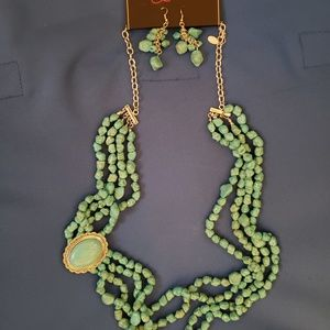 turquoise necklace and matching earrings